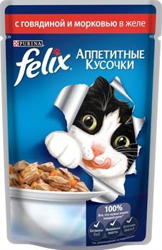 """Purina Felix - Влажный корм для кошек """"Аппетитные кусочки"""" (с говядиной и морковью) - фото 16135"""