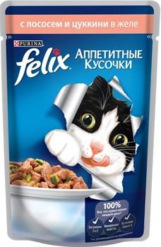 """Purina Felix - Влажный корм для кошек """"Аппетитные кусочки"""" (с лососем и цуккини) - фото 16142"""