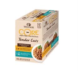 "Wellness Core - Паучи для кошек ""Ассорти"" (нежные кусочки курицы) 6 шт*85 г Tender Cuts - фото 16233"