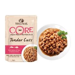 Wellness Core - Паучи для кошек (нежные кусочки лосося и тунца в пикантном соусе) Tender Cuts - фото 16238