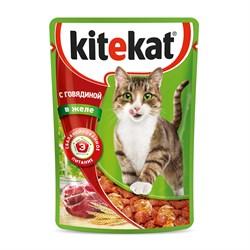 Kitekat - Паучи для кошек (с говядиной в желе) - фото 16335