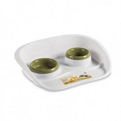 Stefanplast - Подставка Set Dinner бело-зеленая с мисками, 0,2 и 0,3л - фото 16953
