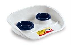 Stefanplast - Подставка Set Dinner бело-голубая с мисками, 0,2 и 0,3л - фото 16974