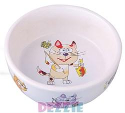 Dezzie - Миска для кошек, 150 мл, 300 мл, 12,5*12,5*4,5 см, керамика - фото 16989