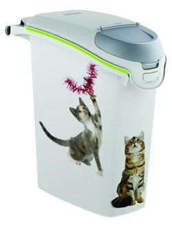 "Curver PetLife - Контейнер для хранения корма ""Сладкие котята"", 23х50х36см, 6кг/15л (белый) Cat Dry Food Jug - фото 17048"