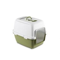 Stefanplast - Туалет-домик Cathy Comfort с уголным фильтром и совочком, зеленый, 58х45х48 см - фото 17142