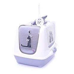 Moderna - Туалет-домик Trendy cat с угольным фильтром и совком, 57х45х43, Влюбленные коты - фото 17151