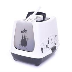 Moderna - Туалет-домик Trendy Cat с угольным фильтром и совком, 50х41х39см, бело-черный - фото 17153