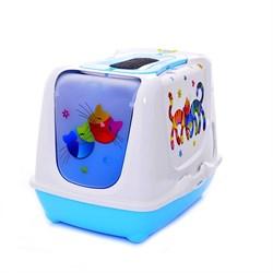 Moderna - Туалет-домик Trendy cat с угольным фильтром и совком, 50х41х39, Друзья навсегда голубой - фото 17189