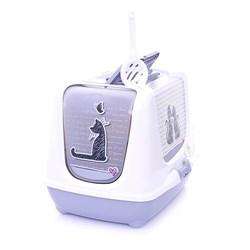 Moderna - Туалет-домик Trendy cat с угольным фильтром и совком, 50х41х39, Влюбленные коты - фото 17198