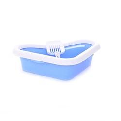 Stefanplast - Туалет угловой Sprint Corner, с рамкой и совочком, голубой, 40*56*14см - фото 17257