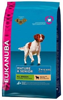 Eukanuba - Сухой корм для зрелых и пожилых собак всех пород (с ягненком и рисом) Dog Mature & Senior All Breeds Rich in Lamb & Rice - фото 17376
