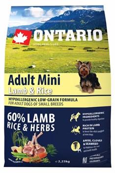 Ontario - Сухой корм для собак малых пород (с ягненком и рисом) Adult Mini Lamb & Rice - фото 17654
