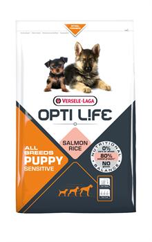 Opti Life (Versele-Laga) - Сухой корм для щенков с чувствительным пищеварением (с лососем и рисом) Puppy Sensitive All Breeds - фото 17728