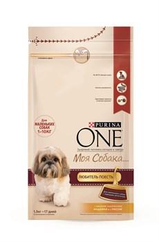 """Purina ONE - Сухой корм для собак мелких пород """"Моя Собака…Любитель поесть"""" (с индейкой и рисом) - фото 17901"""