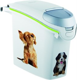"Curver PetLife - Контейнер для хранения корма ""Веселые щенята"", 23х50х36см, 6кг/15л (белый) Dog Dry Food Jug - фото 18760"