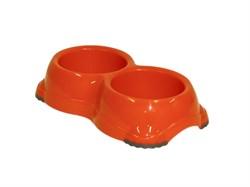 Moderna - Двойная миска нескользящая Smarty, 2*645мл, оранжевая - фото 18847