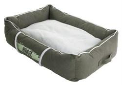 Rogz - Лежак с бортиком и двусторонней подушкой, оливковый/кремовый, средний (72x45x25 см) LOUNGE POD MEDIUM - фото 19178