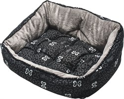 "Rogz - Мягкий лежак с двусторонней подушкой ""Черные косточки"", размер M (56х43х29см) TRENDY PODZ - фото 19204"