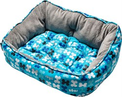 "Rogz - Мягкий лежак с двусторонней подушкой ""Голубые косточки"", размер S (52х38х25см) TRENDY PODZ - фото 19205"