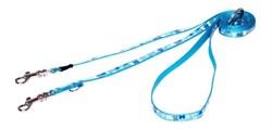 "Rogz - Поводок-перестежка для собак малых пород ""Голубые косточки"", размер S (ширина 12 мм, длина 1,1-1,4-1,8 м) MULTI PURPOSE LEAD - фото 19492"