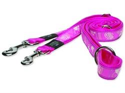 "Rogz - Поводок-перестежка ""Розовая лапка"" (размер XL - ширина 2,5 см, длина 1,0-1,3-1,8 м) FANCY DRESS MULTI PURPOSE LEAD - фото 19554"