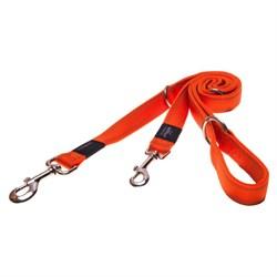 Rogz - Поводок-перестежка, оранжевый (размер XL - ширина 2,5 см, длина 1-1,3-1,6 м) UTILITY MULTI PURPOSE LEAD - фото 19592