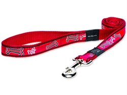 "Rogz - Поводок ""Красные косточки"" (размер M - ширина 1,6 см, длина 1,4 м) FANCY DRESS FIXED LEAD - фото 19633"