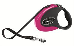 Flexi - Рулетка-ремень для собак, размер M - 5 м до 25 кг (черно-розовая) Collection tape black/pink - фото 20041