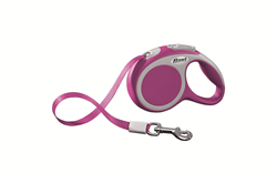 Flexi - Рулетка-ремень для собак, размер XS - 3 м до 12 кг (розовая) Vario tape pink - фото 20052