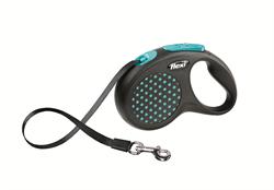 Flexi - Рулетка-ремень для собак, размер S - 5 м до 15 кг (голубая) Design Tape blue - фото 20057