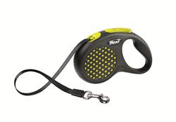 Flexi - Рулетка-ремень для собак, размер S - 5 м до 15 кг (желтая) Design Tape yellow - фото 20060