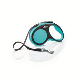 Flexi - Рулетка-ремень для собак, размер S - 5 м до 15 кг (голубая) New Comfort Tape blue - фото 20063