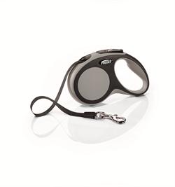 Flexi - Рулетка-ремень для собак, размер S - 5 м до 15 кг (серая) New Comfort Tape grey - фото 20067