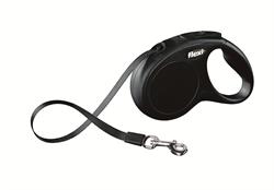 Flexi - Рулетка-ремень для собак, размер S - 5 м до 15 кг (черная) New Classic tape black - фото 20069