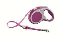 Flexi - Рулетка-ремень для собак, размер S - 5 м до 15 кг (розовая) Vario tape pink - фото 20071