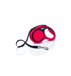 Flexi - Рулетка-ремень для собак, размер M - 5 м до 25 кг (красная) New Comfort Tape red - фото 20081