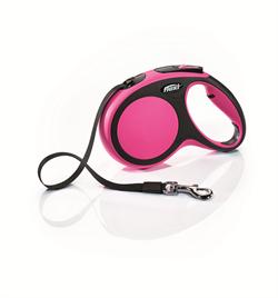 Flexi - Рулетка-ремень для собак, размер M - 5 м до 25 кг (розовая) New Comfort Tape pink - фото 20082