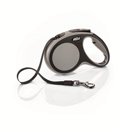 Flexi - Рулетка-ремень для собак, размер M - 5 м до 25 кг (серая) New Comfort Tape grey - фото 20083