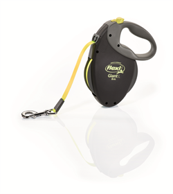 Flexi - Рулетка-ремень для собак, размер L - 8 м до 50 кг (черная+неон) GIANT Neon tape - фото 20086