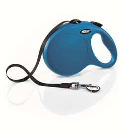 Flexi - Рулетка-ремень для собак, размер L - 8 м до 50 кг (голубая) New Classic Tape blue - фото 20089