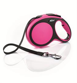 Flexi - Рулетка-ремень для собак, размер L - 8 м до 50 кг (розовая) New Comfort Tape pink - фото 20096