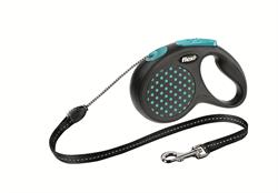 Flexi - Рулетка-трос для собак, размер S - 5 м до 12 кг (голубая) Design Cord blue - фото 20114