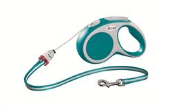 Flexi - Рулетка-трос для собак, размер S - 5 м до 12 кг (бирюзовая) Vario cord turqouise - фото 20117