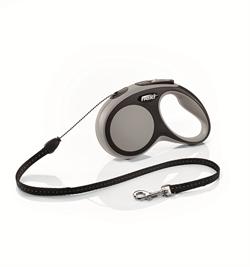Flexi - Рулетка-трос для собак, размер S - 5 м до 12 кг (серая) New Comfort Cord grey - фото 20126