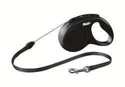Flexi - Рулетка-трос для собак, размер S - 5 м до 12 кг (черная) New Classic cord black - фото 20130