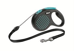 Flexi - Рулетка-трос для собак, размер M - 5 м до 20 кг (голубая) Design Cord blue - фото 20143