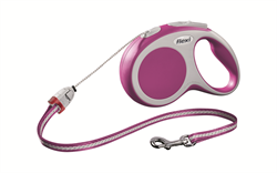 Flexi - Рулетка-трос для собак, размер S - 8 м до 12 кг (розовая) Vario cord pink - фото 20144