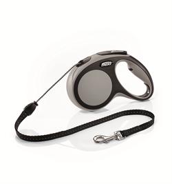 Flexi - Рулетка-трос для собак, размер M - 5 м до 20 кг (серая) New Comfort Cord grey - фото 20164