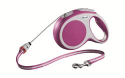 Flexi - Рулетка-трос для собак, размер M - 8 м до 20 кг (розовая) Vario cord pink - фото 20174